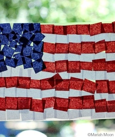 Fourth of July Crafts: Tissue Paper Flag #4thofJuly