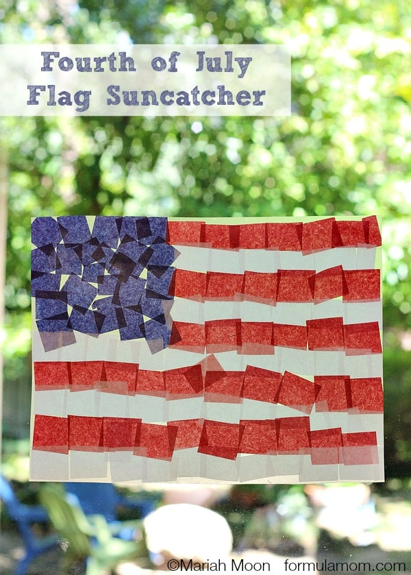 Fourth of July Crafts: Tissue Paper Flag Suncatcher #4thofJuly #keepkidsbusy