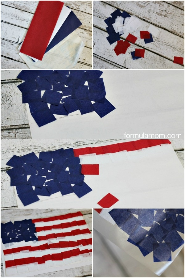 Making Fourth of July Crafts: Tissue Paper Flag Suncatcher Steps #4thofJuly #keepkidsbusy