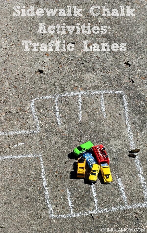 Sidewalk Chalk Activities: Traffic Lanes #keepkidsbusy
