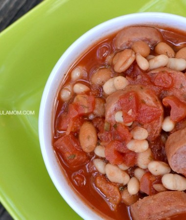 Easy Bean and Sausage Soup is perfect dinner for a busy school night!