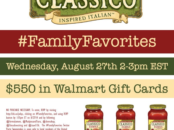 RSVP for the #FamilyFavorites Twitter Party 8/27