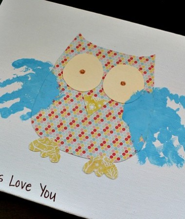 Grandparents Day Handprint Gift Owl Craft #grandparentsday #crafts