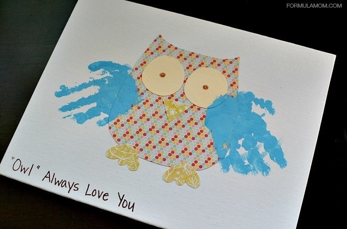 Grandparents Day Handprint Owl Gift