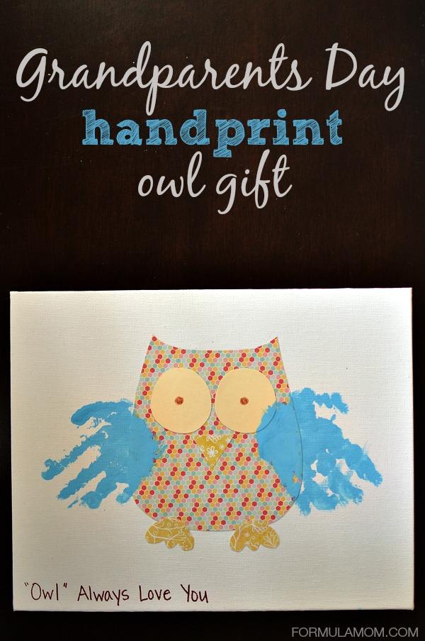 Grandparents Day Handprint Owl Gift #grandparentsday #crafts