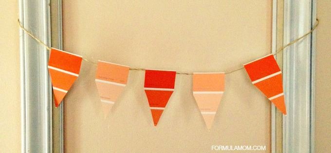 Easy DIY Paint Chip Candy Corn Banner #halloween #diy