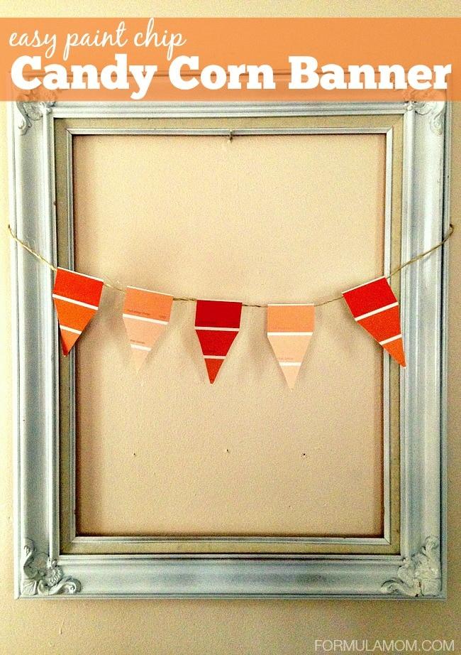 Easy DIY Paint Chip Candy Corn Banner #halloween #diy