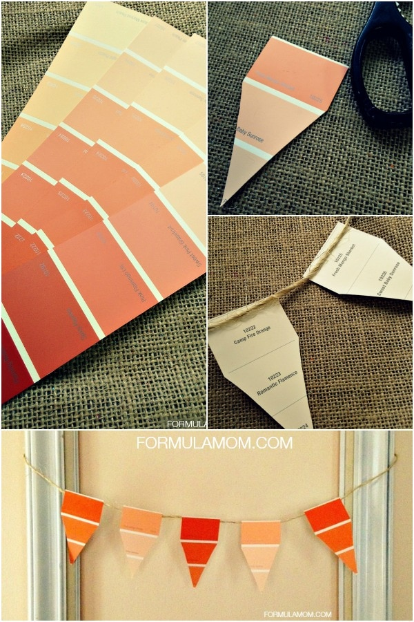 How to Make an Easy DIY Paint Chip Candy Corn Banner #halloween #diy