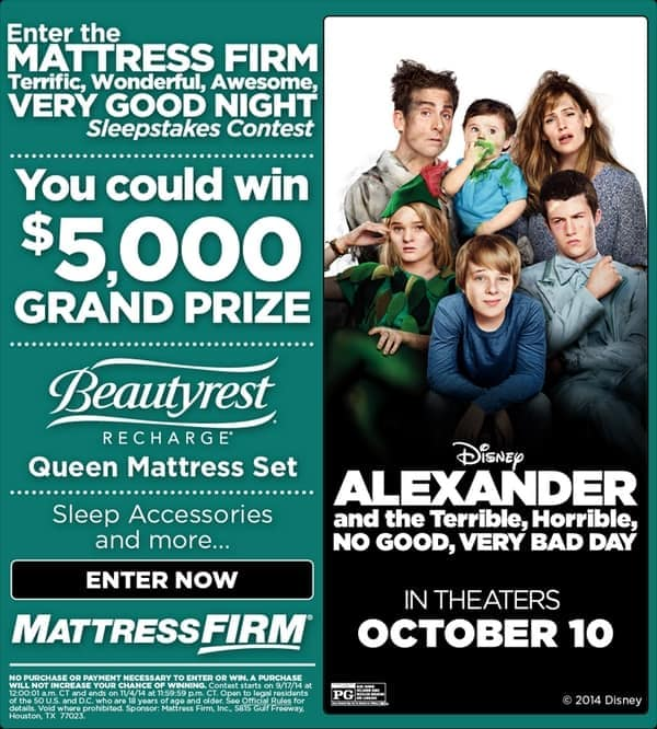 """Terrific, Wonderful, Awesome, Very Good Night"" Sleepstakes Contest #VeryBadDay"