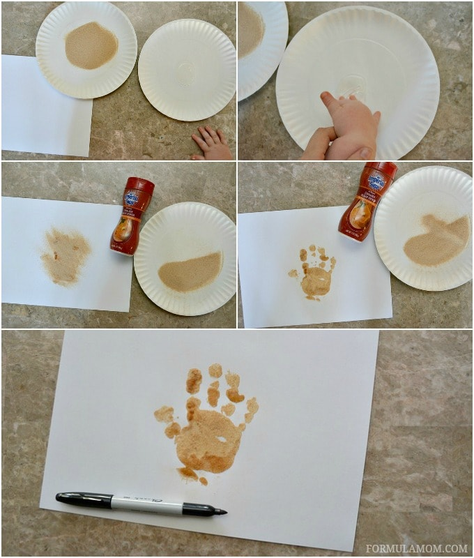 How to Make a Cinnamon Sugar Turkey Handprint Craft for Toddlers #Thanksgiving