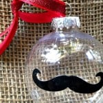DIY Christmas Ornaments Idea: Mustache Ornament made with stickers! #Christmas #DIY