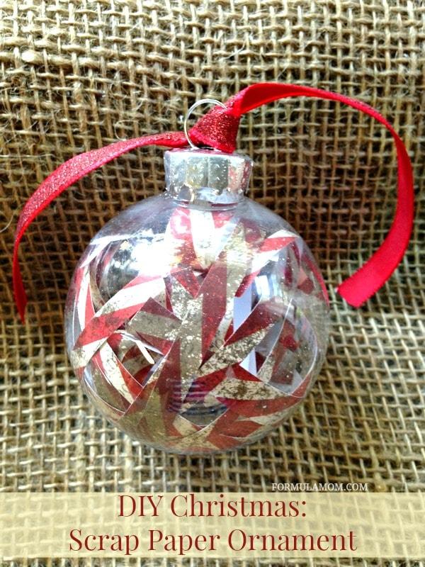 12 Days of DIY Christmas Ornaments: Scrap Paper Ornament #christmas #diy