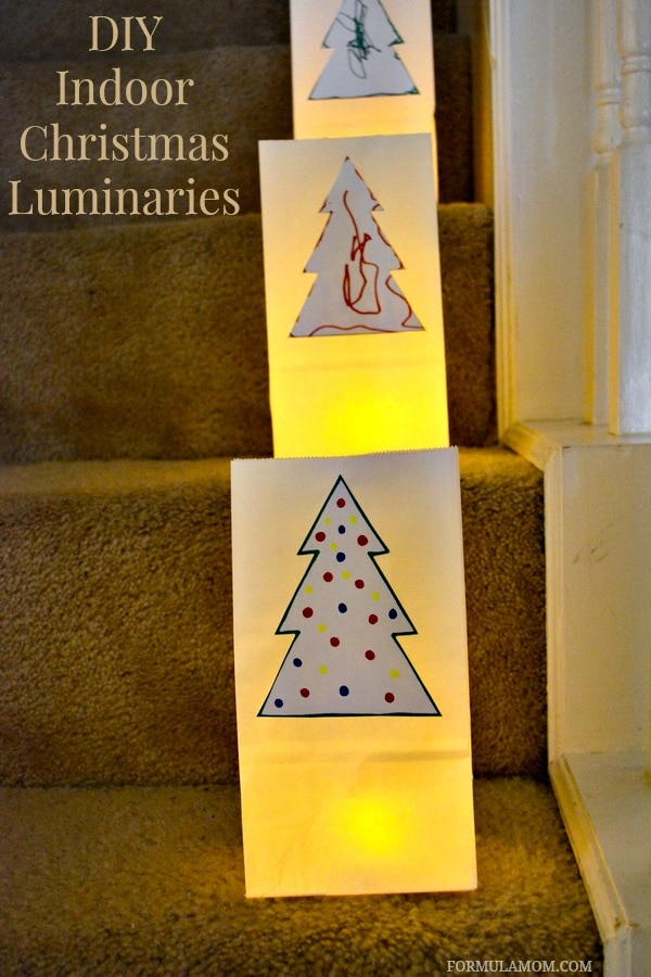 Indoor DIY Luminaries for Christmas #Christmas #DIY