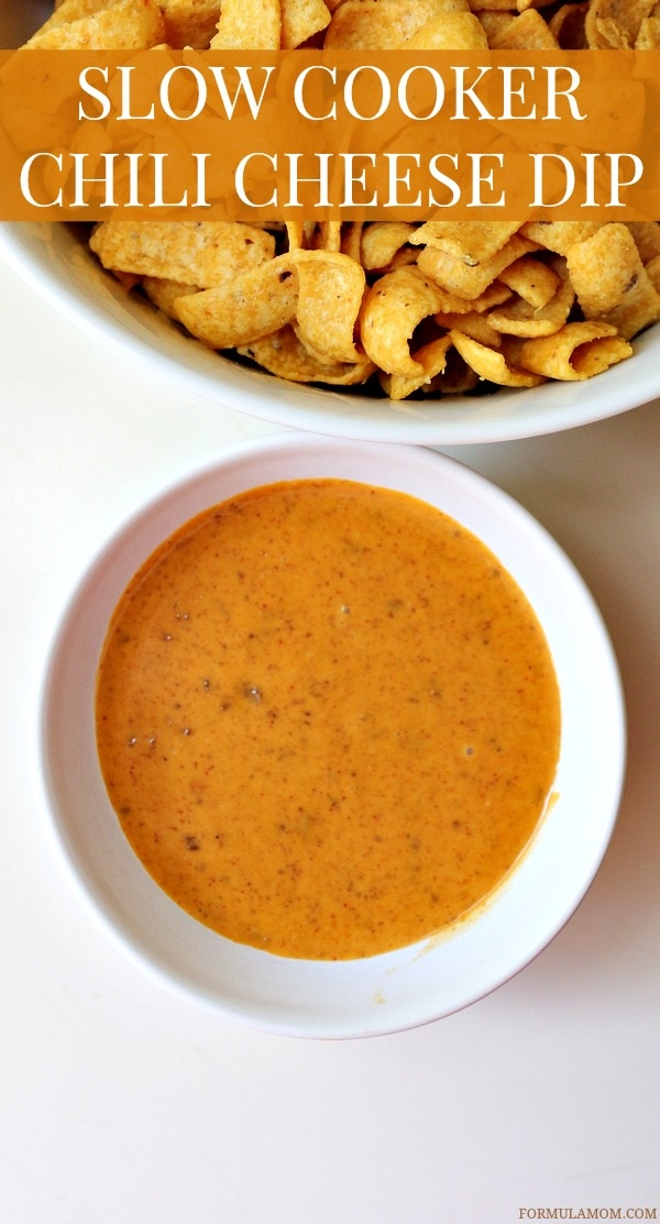 Easy Slow Cooker Chili Cheese Dip Recipe #BoldWolfChili #ad