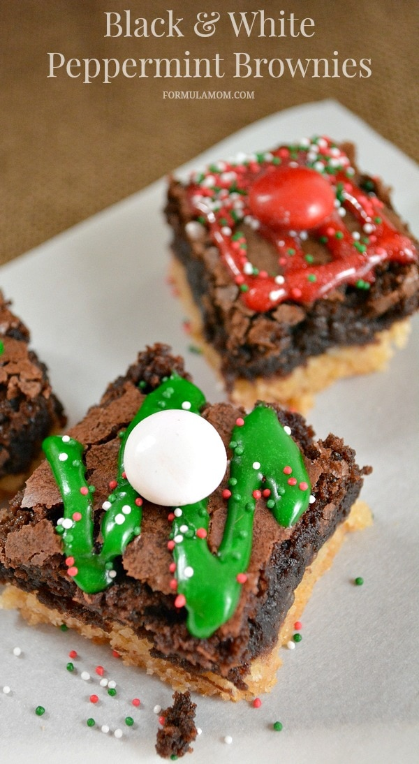 Black and White Peppermint Brownies #HolidayBaking