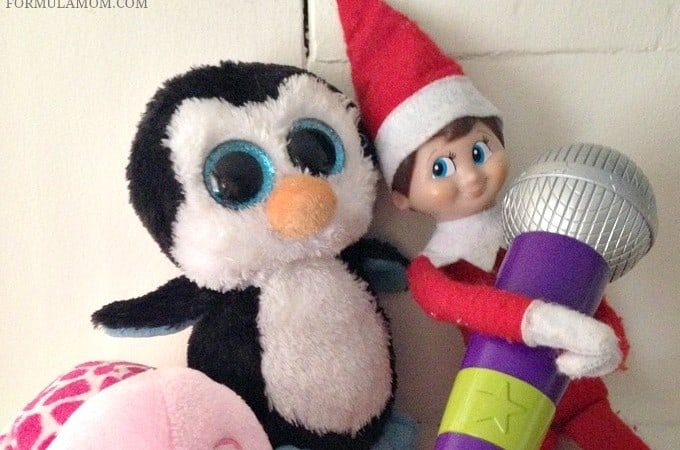 Easy Elf on the Shelf Ideas: Stuffed Animal Karaoke Party