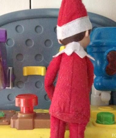 Easy Elf on the Shelf Ideas: Working Overtime #ElfontheShelf