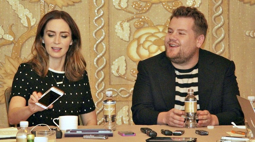 Interviewing Emily Blunt and James Corden #IntoTheWoods #IntoTheWoodsEvent
