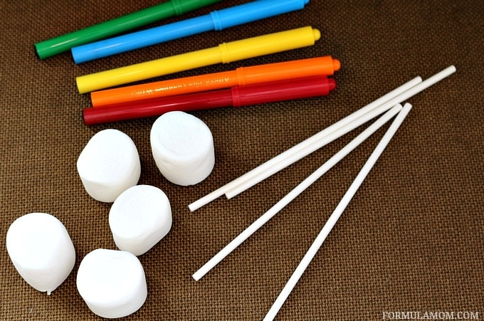Kid Friendly New Years Eve Countdown Marshmallow Pops Materials