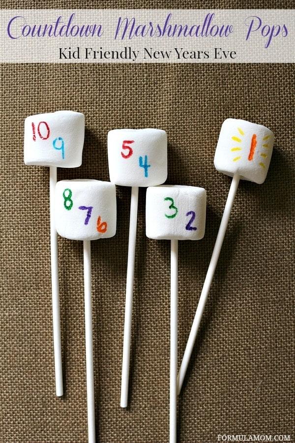 Kid Friendly New Years Eve Ideas: Countdown Marshmallow Pops #DIY #NewYearsEve