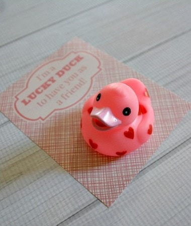No Candy Valentines Ideas: Lucky Duck with printable #ValentinesDay #diy