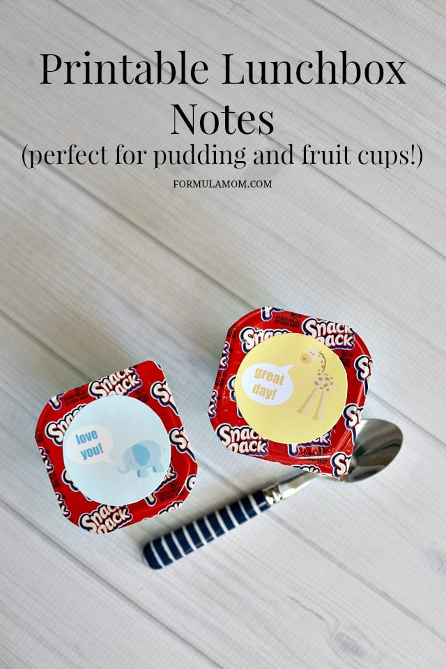 Printable Lunchbox Notes for Pudding Cups, Fruit Cups, Applesauce #backtoschool