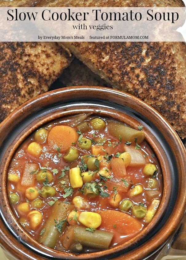 Slow Cooker Tomato Soup with Veggies #SlowCookerRecipes