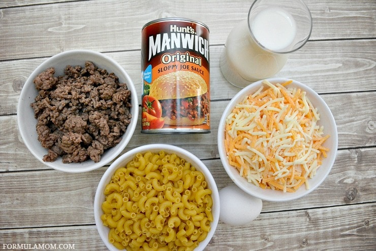 What You Need to make Baked Sloppy Joe Macaroni and Cheese