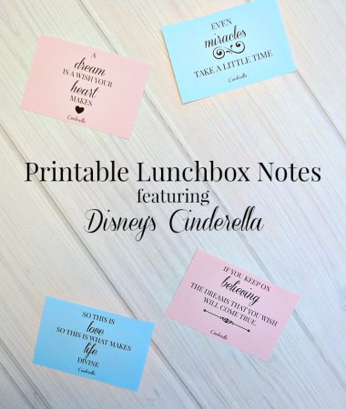 Printable Lunchbox Notes featuring quotes from Disney's Cinderella!