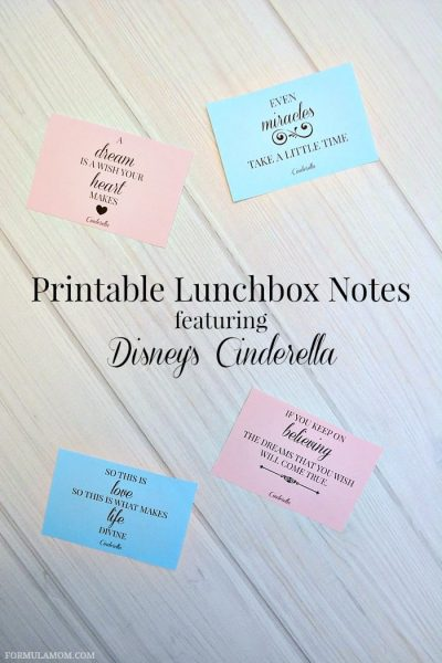 Printable Lunchbox Notes featuring Disney's Cinderella