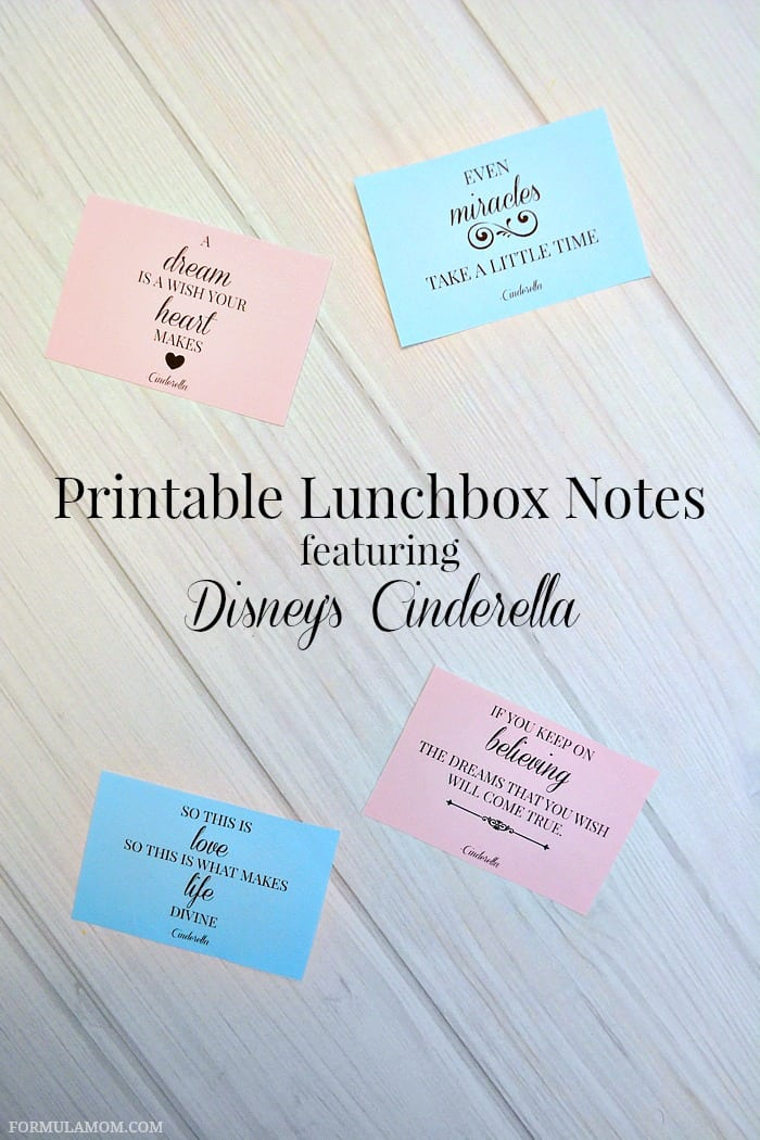 Printable Lunchbox Notes Featuring Disneys Cinderella Disney