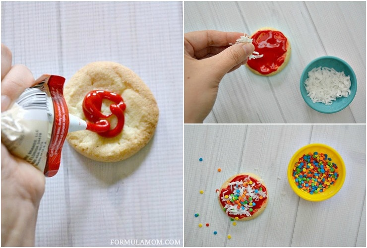 Check out how easy it is to make Sugar Cookie Pizza Cookies! This easy cookie decorating idea is fun for the whole family!