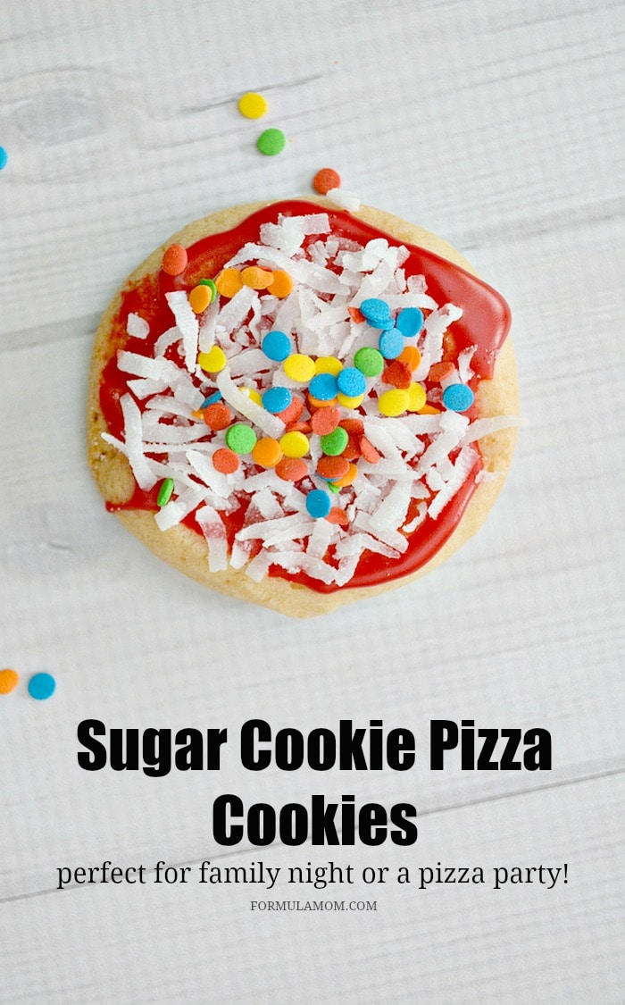 Sugar Cookie Pizza Cookies are so easy to make that they are great for family time! Who doesn't love pizza night with the family, right? But they are also good for pizza parties and just as an easy cookie idea!