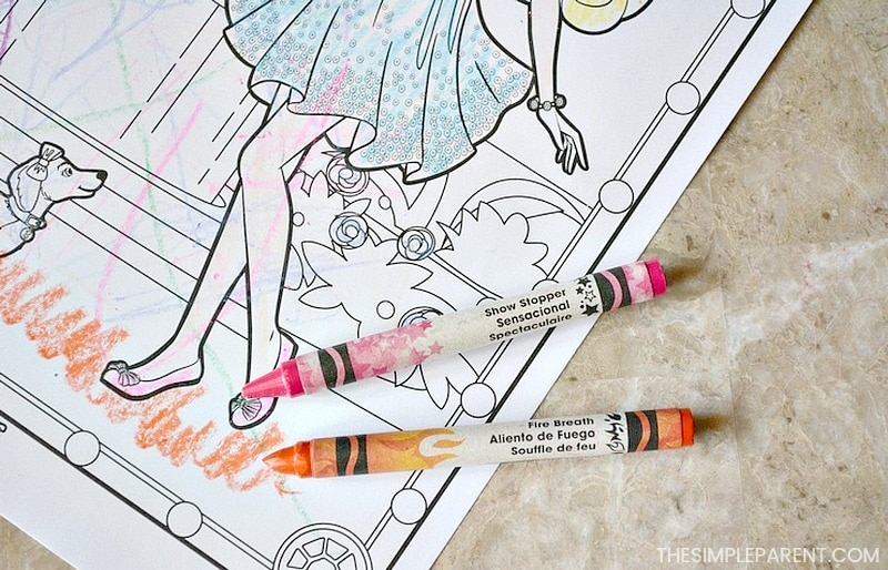 The Color Alive coloring books come with crayons to use.
