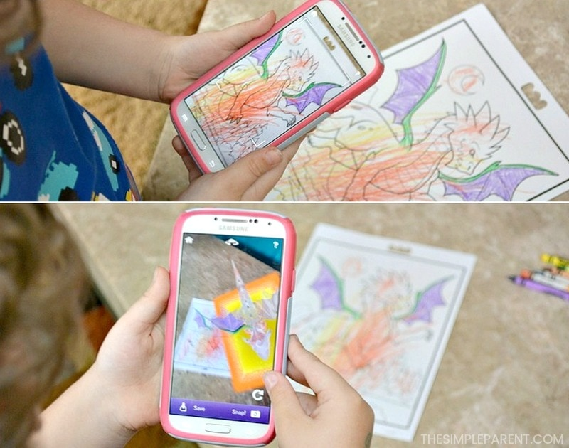 Using the Crayola Color Alive app to show animations of kids' coloring pages.