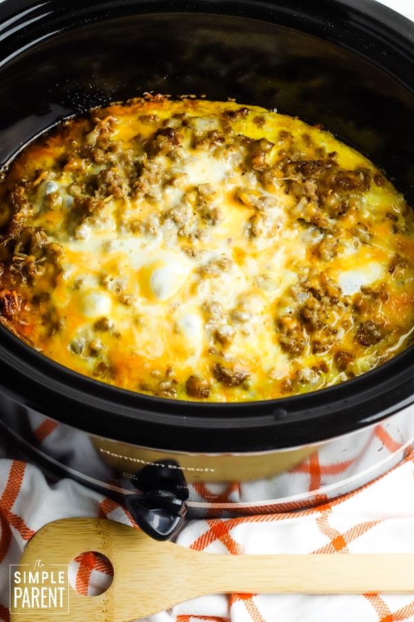 Overnight breakfast casserole in a Crockpot