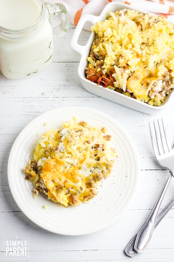 Serving of slow cooker breakfast casserole on a white plate