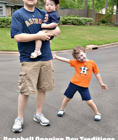 We love our Opening Day Baseball Traditions! Daddy and the kids are making memories together!