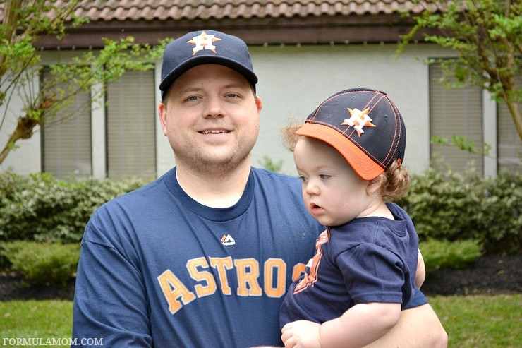 Getting decked out in new Houston Astros baseball gear for Opening Day baseball traditions with the family!