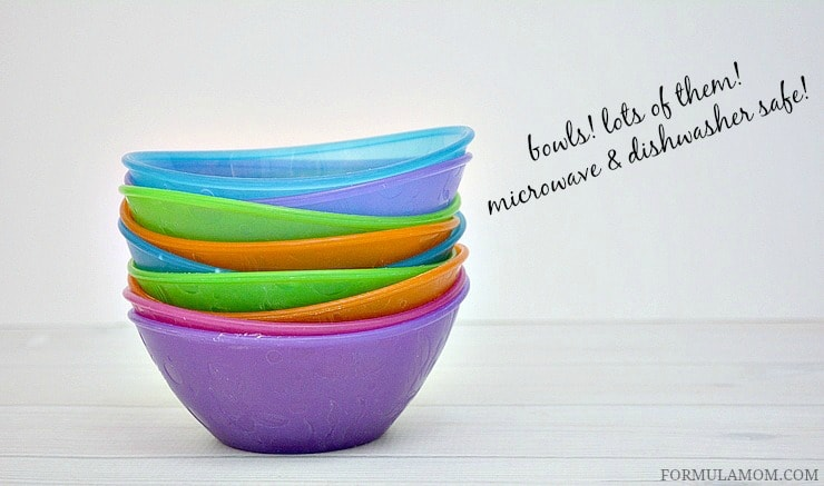 Baby Feeding Must Haves includes tons and tons of bowls! Make sure they are microwave and dishwasher safe!