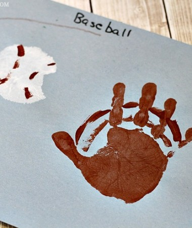 Have fun celebrating baseball season and summer fun with these easy Baseball Handprint Craft! Handprint crafts for kids are great for making memories together all year long!