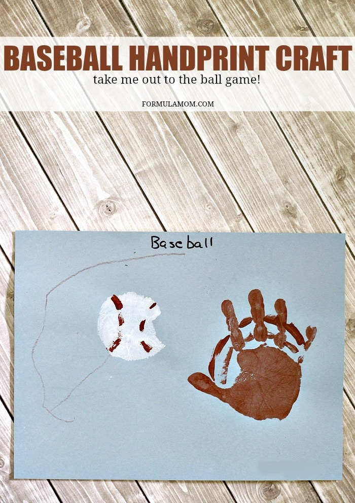 Have fun celebrating baseball season and summer fun with these easy Handprint Baseball Craft! Handprint crafts for kids are great for making memories together all year long!