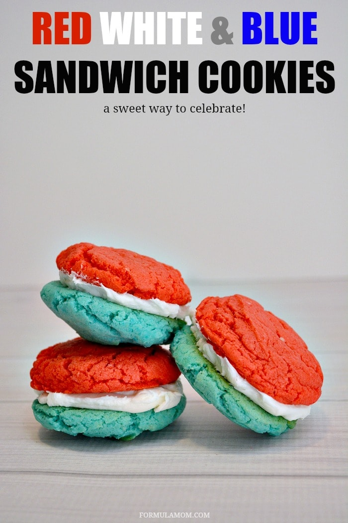 Make Red White and Blue Cookie Sandwiches to celebrate Memorial Day and the 4th of July with the kids! These are delicious and so fun to make!