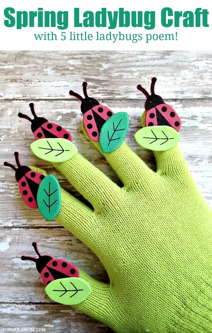 This Spring Ladybug craft for kids is fun to make and then fun to play with! It's a great craft for in the garden and for finger play with a 5 Little Ladybugs poem!