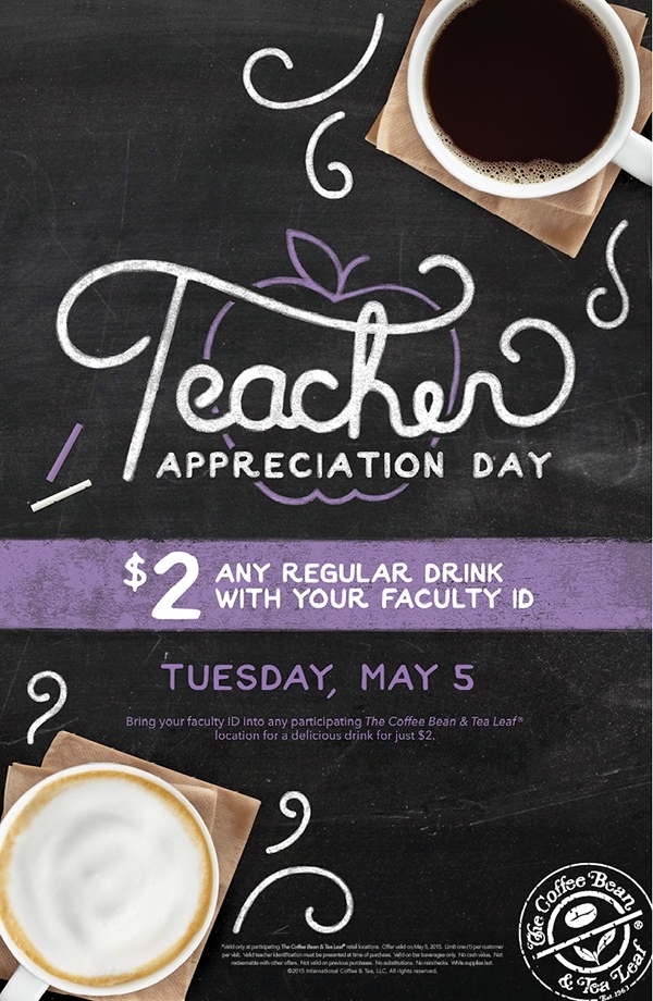 Celebrate Teacher Appreciation Day with The Coffee Bean & Tea Leaf!