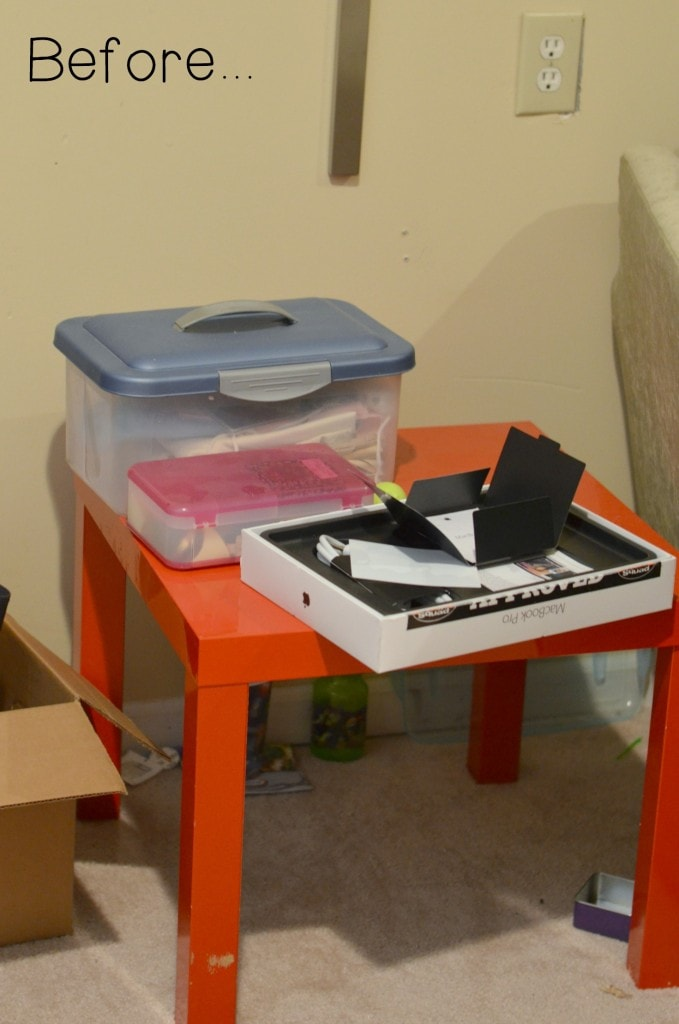 Get organized for school with a simple DIY Homework Center! It doesn't have to be complicated, just organized and workable! THE BEFORE SHOT! :)