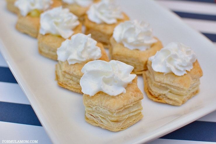 Birthday party food ideas don't have to be complicated to be delicious! Take a fun approach to classic flavors with these Puff Pastry Banana Cream Pies!