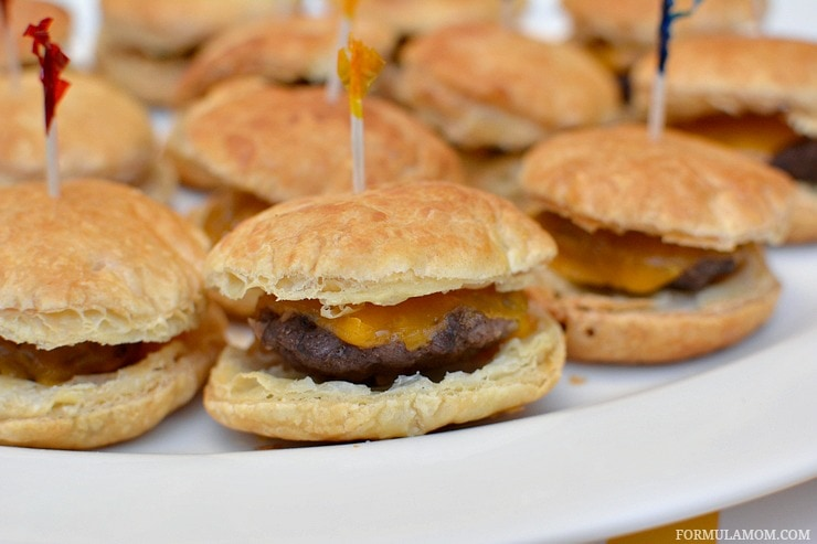Birthday party food ideas don't have to be complicated to be delicious! Take a fun approach to classic flavors with these Puff Pastry Burger Bites!