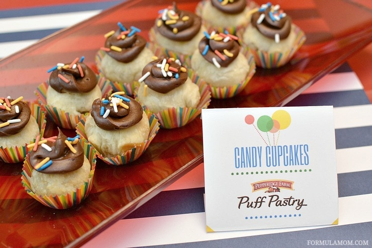 Birthday party food ideas don't have to be complicated to be delicious! Take a fun approach to classic flavors with these Puff Pastry Candy Cupcakes!