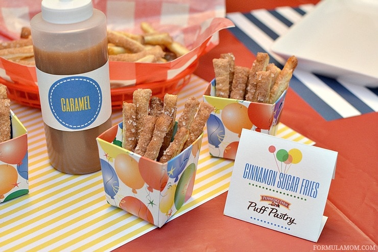 Birthday party food ideas don't have to be complicated to be delicious! Take a fun approach to classic flavors with these Puff Pastry Cinnamon Sugar Fries!